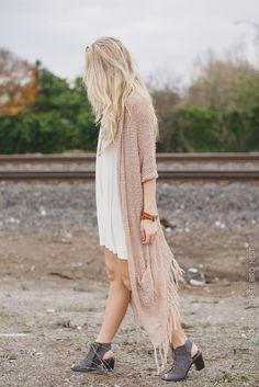 fringe duster sweater #duster #fringe #fashion #threebirdnest