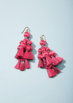 Earrings Statement Pretty poms tassel statement earrings by kate spade new york - Tassel Earrings, Chandelier Earrings, Crochet Earrings, Kate Spade Pink, Couture, Statement Jewelry, Glass Beads, Women Accessories, Fashion Jewelry