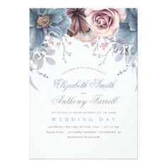 Dusty Blue and Mauve Floral Watercolor Wedding Card - invitations custom unique diy personalize occasions