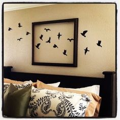 Love the creativity of this. Imagine all the possibilities of different subject matter. Butterflies for a little girls' room, dinosaurs for a little boy's room. Inexpensive way to take up wall space.