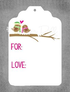Christmas Gift Tags  Christmas Lovebirds Tag  by PaperDollPrinting
