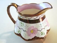 Large squatty Antique Old English Copper Lustre pitcher