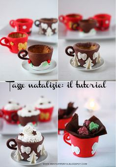 Tazze di Natale in pastafrolla San Valentino, Tutorial, Food And Drink, Pudding, Drinks, Cooking, Breakfast, Happy, Desserts