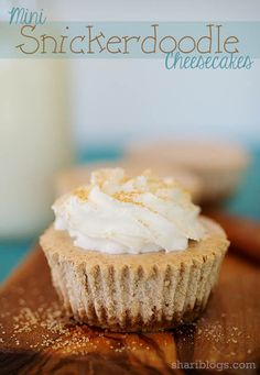 Mini Snickerdoodle Cheesecakes  Substitute with an almond flour crust and Swerve for THM