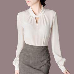 Осень пр наряд шелк воротник стойка длинная рукав рубашка женское a223 купить в магазине Welcome to China Purchasing на AliExpress