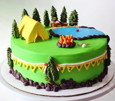 All ready for a camping adventure! This cake is iced in buttercream, and all decorations are made out of gumpaste and/or fondant. Such a fun theme to do! Camping Theme Cakes, Camping Birthday Cake, Fancy Cakes, Cute Cakes, Fondant Cakes, Cupcake Cakes, Nature Cake, Campfire Cake, Bolo Floral