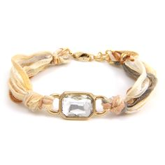 Rectangular Gold Crystal Gem on Multi Cream Vintage Ribbon