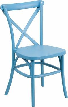 HERCULES Series Blue Resin Indoor-Outdoor Cross Back Chair with Steel Inner Leg, LE-9-BL-GG   RestaurantFurniture4Less.com