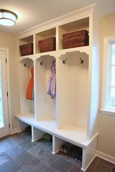 Image of marvelous entryway storage lockers with bench mounted by oil rubbed bronze coat hook of light purple jacket on interior slate floor tiles under flush mount ceiling lights also open coat closet cubby shelving unit cream carpet rug captivating narrow hallway storage solutions using white console cabinet teak wooden shoe cabinet furniture mail