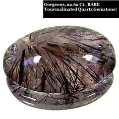 Breathtaking, 22.62 ct. Tourmalinated Quartz Gemstone Cabochon for Jewelry Making/Collecting!