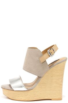 Kensie Devora Silver Suede Leather Platform Wedge Sandals