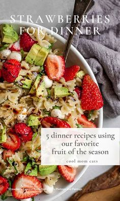 These 5 dinner recipes use all those wonderful strawberries in season! From a gorgeous summer salad from Platings & Parings to a creative sandwich, to a Strawberry Bail Chicken to die for! See them all on Cool Mom Eats | #strawberries #strawberryrecipe #summersalad #summermeals Chopped Salad Recipes, Best Salad Recipes, Easy Healthy Recipes, Lunch Recipes, Summer Recipes, Dinner Recipes, Healthy Family Dinners, Easy Meals For Kids, Meals For The Week