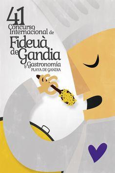 """Cartel ganador del concurso de """"41 Concurso Internacional Fideuà de Gandia y Gastronomía Playa de Gandia"""""""