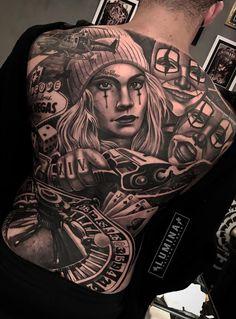 As 90 Melhores Tatuagens nas Costas [Femininas e Masculinas]   TopTatuagens Back Tattoos For Guys, Full Back Tattoos, Full Body Tattoo, Body Art Tattoos, Scary Tattoos, Clown Tattoo, Great Tattoos, Chicano Style Tattoo, Chicano Tattoos