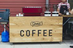 Portable coffee cart. Love the fold up shelves.