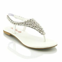 9a3630afd1 Flat Diamante Toe Post Women Pearl Holiday Dressy Party Sandals Size 5 11 |  eBay Dressy