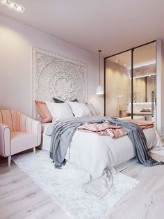 whites, dusty blues, and faded rose bedroom color scheme
