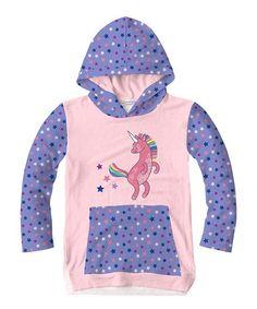 Pink & Violet Unicorn Hoodie - Toddler & Girls