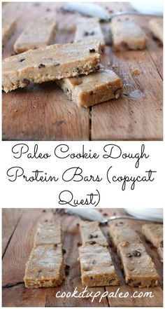 Easy paleo cookie dough protein bars with collagen for protein and cacao nibs instead of chocolate chips. A healthy way to enjoy cookie dough! Paleo Protein Bars, Paleo Bars, Protein Bar Recipes, Protein Snacks, Keto Snacks, High Protein, Quest Protein Bars, Healthy Snacks, Diy Snacks