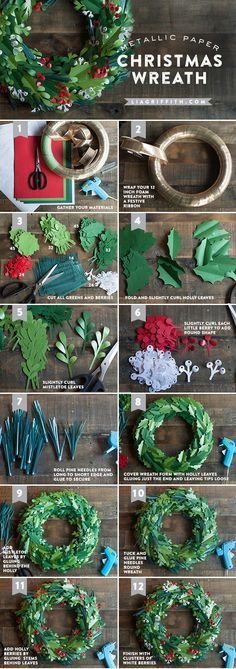 DIY Metallic Christmas Wreath diy christmas diy ideas christmas crafts christmas…