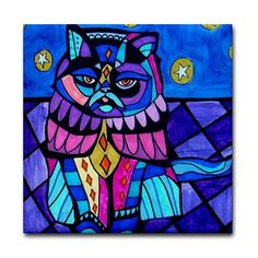 Cat Art Tile Ceramic Coaster Print of painting by Heather Galler Gift