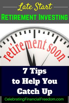Getting a late start investing for retirement? Click the p… – Finance tips, saving money, budgeting planner Investing For Retirement, Early Retirement, Investing Money, Retirement Planning, Financial Planning, Retirement Cards, Retirement Advice, Financial Goals, Retirement Savings Plan