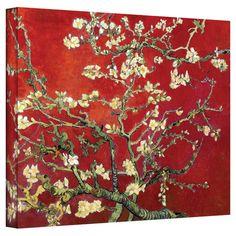 Vincent Van Gogh Interpretation in Red Blossoming Almond Tree Canvas Art