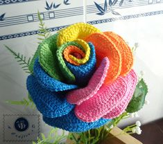 Crocheted realistic rainbow rose flower twig by BeACrafterxD, $25.00