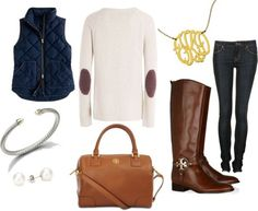 comfy/casual fall day  Love everything about this :) esp gold monogram necklace & elbow patches on the sweater!