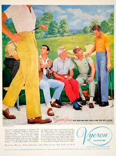 1961 color print ad for Seven Seas wash and wear slcks from men made from Vycron, a polyester fiber made by Beaunit Mills, Fibers Division, 261 Fifth Avenue, NYC.