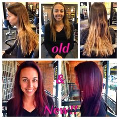 Before and after. Ombré to violet red! Hair color and hair cut by Annji