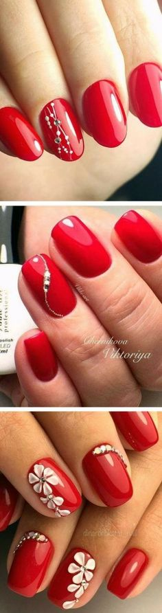 Super Ideas nails red diamonds art designs - MY World Classy Nails, Stylish Nails, Fancy Nails, Trendy Nails, Red Manicure, Manicure And Pedicure, Red Nail, Instagram Nails, Super Nails