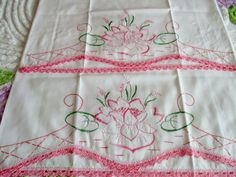 Vintage Pair of Embroidery Water Lily & Crochet Pillow Cases in Excellent Cond