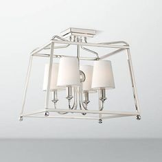 Crystorama Sylvan 4 Light Polished Nickel Ceiling Mount in Other Flush Mounts, style - Traditional, by Crystorama, finish - Nickel, family - Sylvan Cage Ceiling Light, Lamps Plus, Steel Cage, Ceiling Lights, Polished Nickel, Crystorama, Ceiling, Light, Cage Chandelier