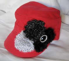 Red Distressed Military Cadet Army Hat with by theraggedyrose, $33.00