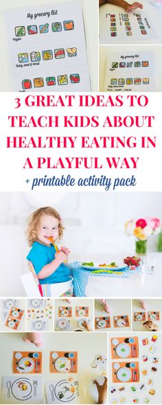 Teaching kids about healthy eating I ve gathered here 3 healthy eating activities for kids and a printable activity pack that will help them learn about healthy choices in a playful way Healthy eating activities for toddlers and preschoolers Toddler Preschool, Toddler Activities, Preschool Cooking, Toddler Food, Healthy Habits, Healthy Choices, Nutrition Activities, Food Nutrition, Nutrition Education