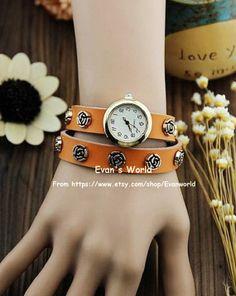Men Woman Orange Leather Wristwatch Retro Style by Evanworld, $15.99 Beautiful handmade watches, gifts.