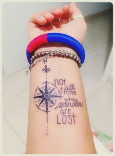 "Not All Those Who Wander Are Lost Compass for front of shirt(small) and words for the back. [ ""Wander Compass Tattoo"", ""My fav Tolkien quote."", ""Not All Those Who Wander Are Lost compass wrist tattoo"", ""What the hell does this even say?! Not all those who lavender are lost?? Man this sucks"", ""Discover with Guiddoo travelers-corner what to do and how to do in your favourite travel destination. Get stories, history & travel tips with Guiddoo"", ""A different font, and it"