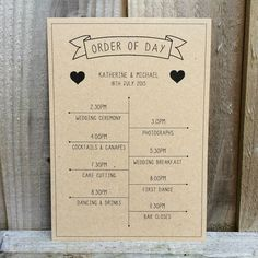 1 X VINTAGE BANNER KRAFT PERSONALISED WEDDING TIMELINE ORDER OF DAY CARD in Home, Furniture & DIY, Wedding Supplies, Centerpieces & Table Decor | eBay