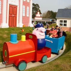 Grandpa Pigs Little Train Ride in Peppa Pig World - Grandpa Pig loves his garden and his bees, but he is best at making things, and this ride is sure to make people happy, so it's all aboard for some fun with Grandpa.More: https://paultonspark.co.uk/attractions/rides/276/grandpa-pigs-little-train