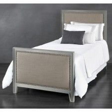 Avery Iron & Upholstered Trundle Bed by Wesley Allen - Aged Nickel Finish…