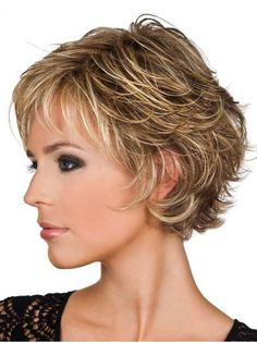 Short Blonde Wavy Real Hair Wigs Human Hair Wigs Sale Remy Wig with Bangs - July 06 2019 at Haircuts For Curly Hair, Haircut For Thick Hair, Short Hairstyles For Women, Easy Hairstyles, Curly Hair Styles, Popular Hairstyles, Crop Haircut, Pixie Haircuts, Natural Hairstyles