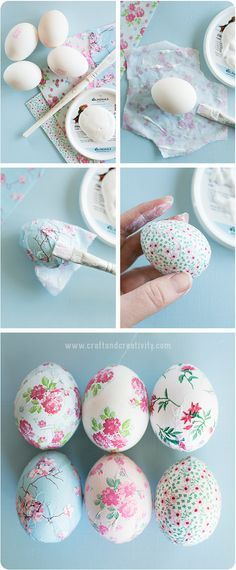 Pretty Awesome Easter Eggs :) one of the best egg decorating ideas out there! You can check these beautiful decoupage eggs plus the tutorial at Craft & Creativity website – enjoy! Easter Projects, Easter Crafts, Easter Ideas, Easter Dyi, Craft Projects, Hoppy Easter, Easter Bunny, Spring Crafts, Holiday Crafts