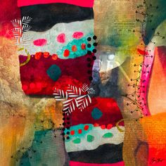 Abstract Mixed media collage by Gina Startup