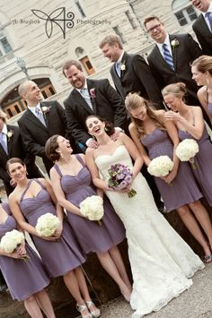 Bill Levkoff Victorian Lilac chiffon bridesmaid dresses