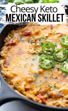 This easy and delicious recipe for Keto Cheesy Mexican Skillet is full of incredible flavor and easy to make. It's one recipe the entire family enjoys! / keto recipes / keto Mexican recipes / low carb recipes #keto #lowcarb Skillet Chicken, Skillet Meals, Keto Chicken, Chicken Recipes, Cheesy Chicken, Chicken Zucchini, Cheesy Recipes, Mexican Skillet Recipe, Mexican Food Recipes