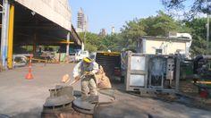 EQ300S en acción a la del taller de Mecánica - Refinería de Cartagena. Sin problemas de polución
