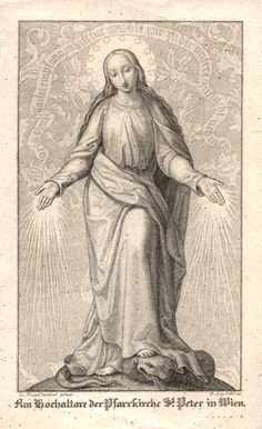 allaboutmary: An engraving of Mary as the Immaculate Conception. The original was painted by the 19th century artist Leopold Kupelwieser and hangs above the high altar in the church of Sankt Peter in Vienna.