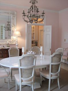 soft light pink and white, would be sweet for girls room.