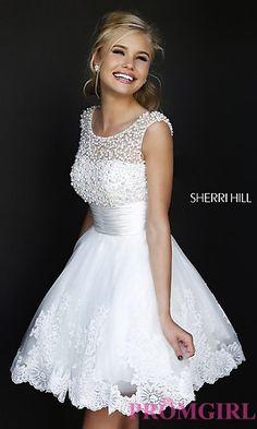 Short High Neck White Sherri Hill Dress at PromGirl.com